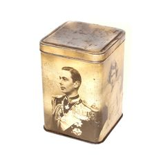 Coronation Tin Tea Caddy from 1937 showing by EnglishVintageHome, £18.00