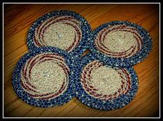 Patriotic Americana Coiled Coaster Set.