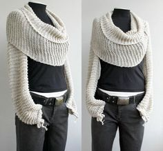 Balero Scarf Different and cute for fall  https://www.etsy.com/listing/154971866/hand-knitted-beige-bolero-scarf-shawl