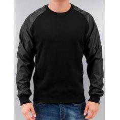 Urban Classics Pullover Männer Raglan Leather Imitation in schwarz Urban ClassicsUrban Classics