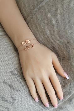 Items similar to Personalized Rose gold filled Wrap Bracelet, layered Infinity & Two personalized initial discs, custom stamped monogram, pink gold on Etsy Prom Jewelry, Jewelry For Her, Stylish Jewelry, Cute Jewelry, Jewelery, Fashion Jewelry, Initial Jewelry, Hand Jewelry, Hand Bracelet