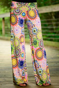 WOW! These palazzo pants are so fun! The vibrant colors with the pattern is amazing! Pair these with a simple top and you'll have an outfit to die for!