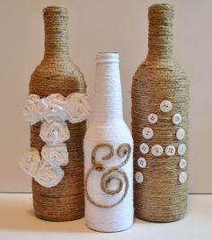 Custom twine wrapped wine bottles / Rustic wedding decor / Upcycled  --Change the A to an M!