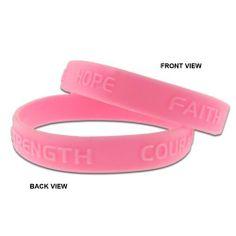 Pink Rubber Bracelet - HOPE-FAITH-COURAGE-STRENGTH . $2.49