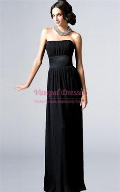 Black Chiffon Sheath Strapless Pleated 2011 Bridesmaid Gowns