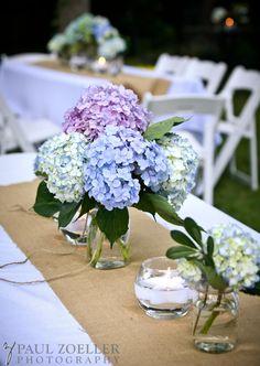 Hydrangea centerpieces, seersucker tablecloths, burlap runners | Paul Zoeller Photography
