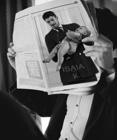 #Isaia #campaign on the #newsPaper #man #elegant #suit #baby