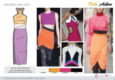 FW 208-19 Trend forecast: ACTIVE COLOUR BLOCK jersey dress, sporty cuts and active color blocking, provocative slits, development designs by 5forecaStore Fashion trend forecasting.