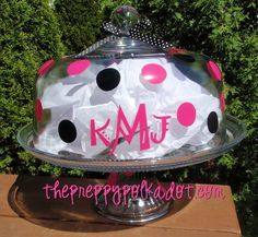 Preppy Polka Dot Monogram Cake Stand-cake plate, housewives, housewife, atlanta