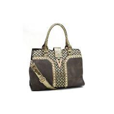 Fashion V-Accented Rhinestone Shoulder Bag w/ Snakeskin-like Trim ($46) found on Polyvore