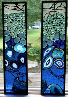 Stained glass blue art