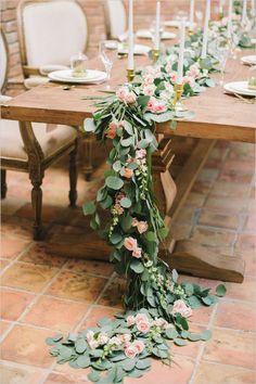 pink rose and eucalyptus table garland @weddingchicks