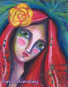 Fearless Art Portrait Acrylic Painting - Supplies and info at: http://lorislaboratory.com/  #acrylic #painting #art #mixedmedia #journal #crafts #artist #redhead #lifebook2016