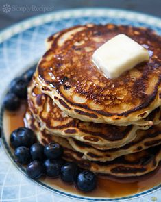Blueberry Buttermilk Pancakes ~ Light and fluffy buttermilk pancakes loaded with blueberries! So easy, the perfect pancake breakfast. ~ SimplyRecipes.com