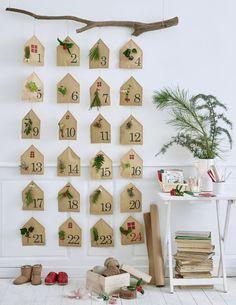 DIY : un calendrier de l'Avent en papier kraft décoré de végétaux /avent calendar DIY - Marie Claire Idées