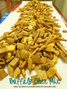 Buffalo Chex Mix - 4 cups Wheat Chex cereal 4 cups Rice Chex cereal 2 cups Parmesan Goldfish 2 cups pretzel sticks 6 tbsp. butter, melted 2 1/2 tbsp. Frank's Hot Sauce 1 pkg. ranch seasoning mix 1/2 tsp. celery salt