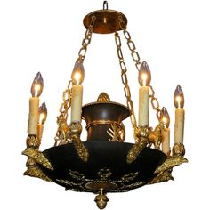 French Regency Gilt Bronze and Painted Chandelier at 1stdibs ❤ liked on Polyvore