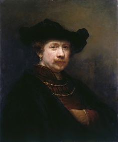 Rembrandt van Rijn - Self-Portrait in a Flat Cap Rembrandt was 36 years old at the time he portrayed himself. He is confident and a man of the world. His future troubles had not yet overwhelmed him. In the Royal Collection of Queen Elizabeth II. Rembrandt Self Portrait, Rembrandt Paintings, Rembrandt Drawings, Rembrandt Art, Oil Portrait, Baroque Painting, Baroque Art, List Of Paintings, Oil Paintings