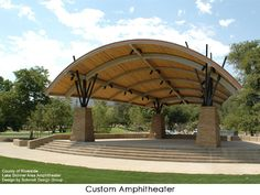 Custom Steel Shade Structure - Some projects require more… more imagination, more attention to detail, more skillful execution. Amphitheater Architecture, Space Architecture, Architecture Details, Outdoor Stage, Outdoor Venues, Pavillion Design, Steel Structure Buildings, Outdoor Shelters, Landscape Design Plans