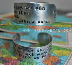 """#FridaKahlo quote: """"at the end of the day we can endure much more than we think we can."""" Hand Stamped #Bracelet #sugarskulls by #ManoyMetal, $22.00"""