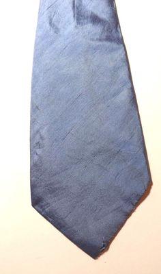 RETRO PURE SILK KIPPER NECK TIE by AUSTIN REED Blue FANCY DRESS 1970s FREE P&P #AustinReed #NeckTie