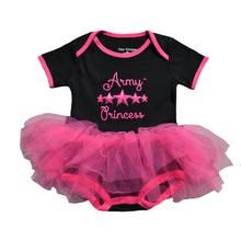 """This charming tutu bodysuit features a screen-printed """"Army Princess"""" across the front and an adorable multi-layered tutu. Licensed by the US Army."""