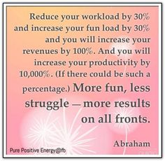 Reduce your workload by 30%  and increase your fun load by 30% and you will increase your revenues by 100%. And you will increase your productivity by 10,000%, if there could be such a percentage. More fun, less struggle - more results on all fronts. *Abraham-Hicks Quotes (AHQ1052)