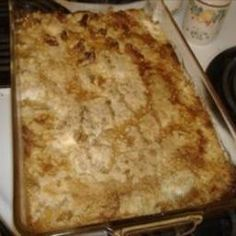 Apple Dump Cake on BigOven: This is a very simple cake with three ingredients.  You can also make this over coals in a dutch oven while out camping.
