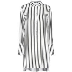 McQ Alexander McQueen Striped Shirt Dress (1.325 BRL) ❤ liked on Polyvore featuring dresses, black, stripe shirt dress, mcq by alexander mcqueen, long shirt dress, shirt dress and stripe dresses