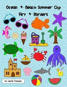 Ocean & Beach Summer Clip Art & Borders