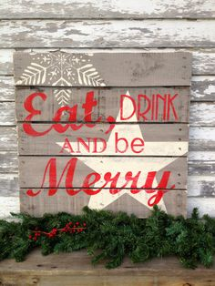 Holiday Hand Painted Repurposed Pallet by soulshineliving on Etsy, $60.00