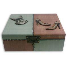 Caixa de Bijouteria Linho Azul e Rosa