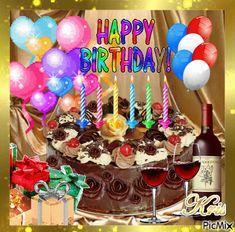 Happy Birthday Cake and Presents - PicMix Animated Happy Birthday Wishes, Happy Birthday Greetings Friends, Happy Birthday Wishes Photos, Birthday Wishes For Kids, Happy Birthday Wishes Images, Happy Birthday Wallpaper, Happy Birthday Video, Happy Birthday Celebration, Cute Happy Birthday