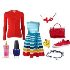 Red, White, Yellow, Blue Fun and Flirty by elizabeth-mauch-bergeron on Polyvore