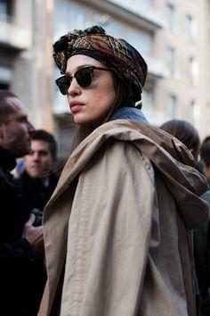 The headscarf with those sunglasses