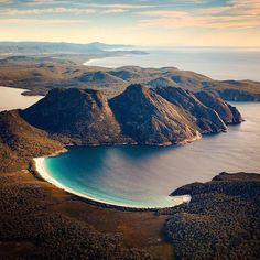 """Wineglass Bay, Tasmania seen from the sky Brisbane, Perth, Melbourne, Tasmania Road Trip, Tasmania Travel, Visit Australia, Australia Travel, Vogue Australia, Queensland Australia"