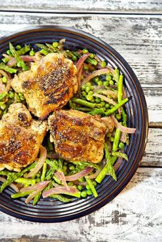One Pot Honey Balsamic Spring Chicken Recipe - delicious Spring on a plate, 8 ingredients dance together delightfully in this dish that is as delicious as it is pretty to look at.  Due to personal taste preferences, I subbed four chicken breasts for the 4 thighs, which worked well.  This is a new favorite here.
