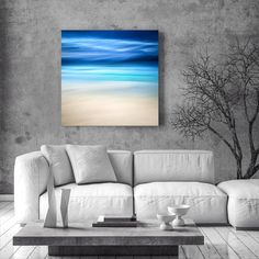 Large Canvas Abstract - Large Abstract Art - Blue Abstract Landscape - Island photography - Deserted Beach Print - Free Shipping