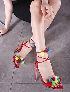 Summer plush ball slim high heel sandals YS-C5600-Lovelyshoes.net
