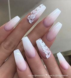 40 Pretty Nude & Ombre Acrylic And Matte White Nails Design For Short And Long Nails – Page 26 of 40 – Long Nails – Long Nail Art Designs Matte White Nails, Pink Ombre Nails, White Acrylic Nails, Best Acrylic Nails, Acrylic Nails Coffin Ombre, Wedding Acrylic Nails, White Nail Art, Bride Nails, Prom Nails
