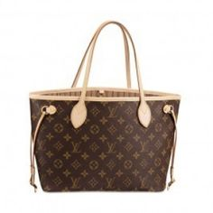 """Louis Vuitton Monogram Canvas Neverfull PM Brown M40155 Golden brass pieces; Hook closure; Zippered inside pocket with a D-ring (for attaching a purse or key holder); Side straps for changing the capacity of the bag; Carried on the shoulder; Natural cowhide straps; Inside patch with the Louis Vuitton signature echoing the very first travel items of the House.  11.2"""" x 8.6"""" x 5.1"""""""