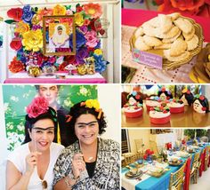 Frida Kahlo theme party ideas! Love the unibrows!