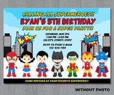 Superhero Photo Invitation Superhero Invitation por KidzParty