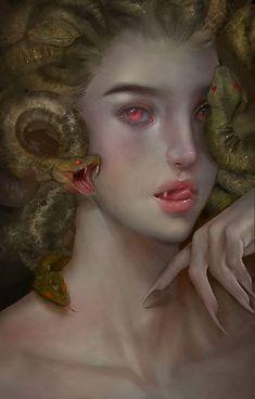 Medusa Gorgon, Medusa Art, Medusa Tattoo, Dark Fantasy Art, Fantasy Girl, Dark Art, Mythological Creatures, Mythical Creatures, Arte Cyberpunk