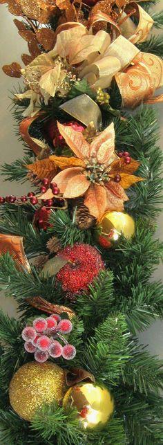 Christmas Garland, Holiday Pine Swag, Elegant Mantle, Designer, Jeweled Fruit,  Poinsettias. $139.00, via Etsy.