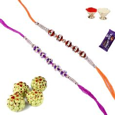 Crystal neon beads #rakhi with sweets with 15% discount send to your loving brother in India with #craftshopsindia
