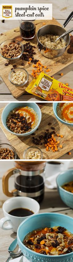 Steel-Cut Oats With Pumpkin Spice Morsels - This easy breakfast recipe goes perfectly with changing leaves and crisp, fall mornings. Our NESTLE® TOLL HOUSE® Pumpkin Spice Morsels lend a sweet touch of pumpkin spice flavor sure to Bake Someone's Day better, right from the start.