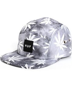 Cop a dank new look with a black and white tie dye volley design with an all over white weed leaf print and a HUF box logo at the front.