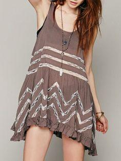 Coffee Sheer Lace Insert Sleeveless Flounce Hem Dress-top