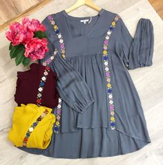"Online Only~ ""Mackenzie"" Embroidered Tunic, 3 colors Pakistani Fashion Party Wear, Pakistani Dresses Casual, Pakistani Dress Design, Indian Fashion Dresses, Casual Dresses, Designer Punjabi Suits Patiala, Indian Gowns Dresses, Party Wear Lehenga, Girls Dresses Sewing"